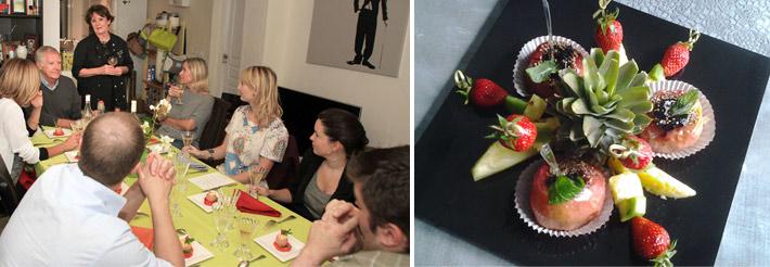 Françoise pavillon discute avec des clients pour un petit anniversaire et une image d'un dessert fruité