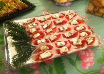 buffet cocktail quartiers de tomate laques chevre frais