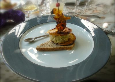 millefeuille de foie gras aux pommes au pavillon gourmand